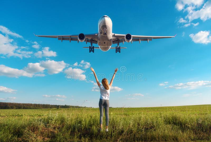 Download Airplane And Woman On The Field At Sunset In Summer Stock Image - Image of nature, plant: 117646195