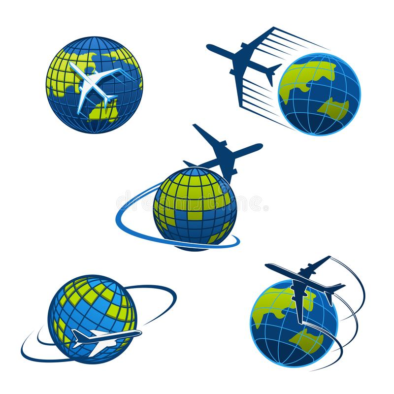 Travel agency vector icons plane and world globe. Airplane and world globe icon templates for travel agency or air post mail delivery and logistics service stock illustration