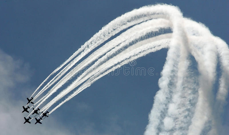 Airplanes. Air show in the sky stock image
