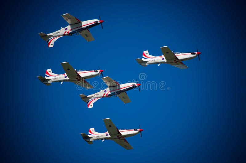 Airplanes at the air show royalty free stock photography