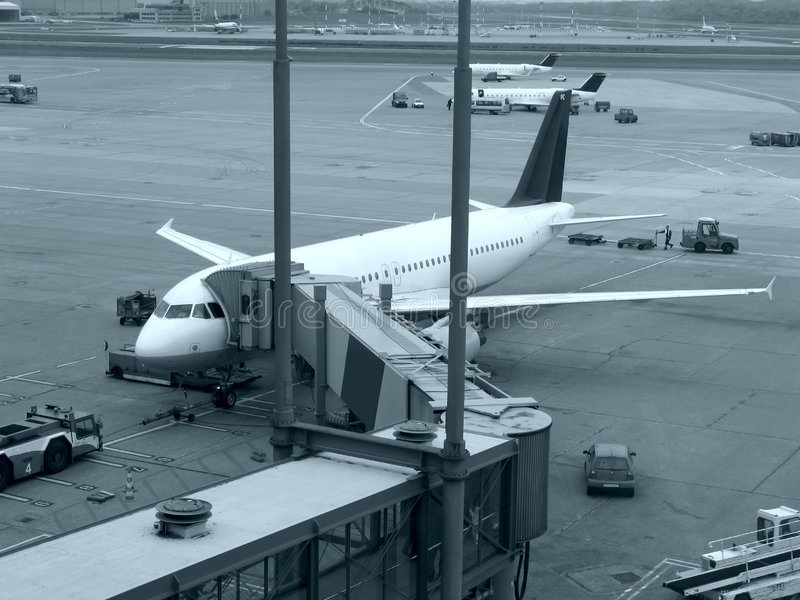 Airplanes at airport stock image