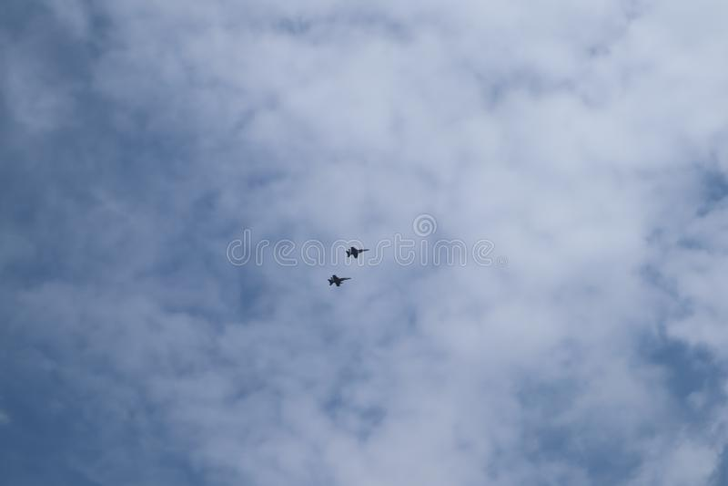 Airplanes on airshow. Aerobatic team performs flight air show. Sun n Fun Airshow. Aviation training institute. Silhouette of an ai stock photos