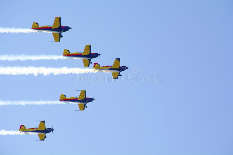 Airplanes on airshow. royalty free stock images