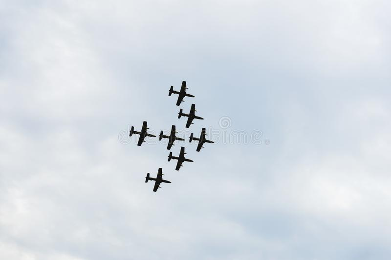 Airplanes on airshow, jets flying. Aircrafts in flying. Exciting performance. Air performance, aircrafts, flying display royalty free stock image