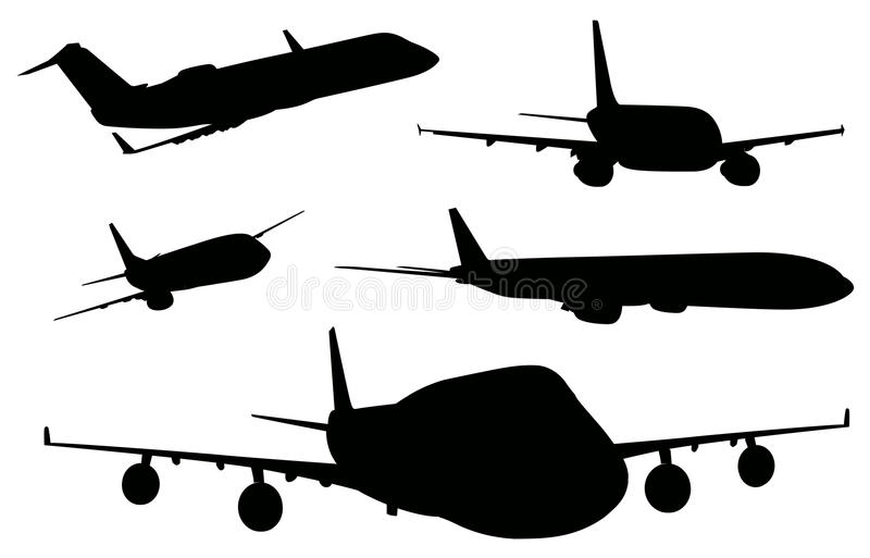 Airplanes in black color stock illustration