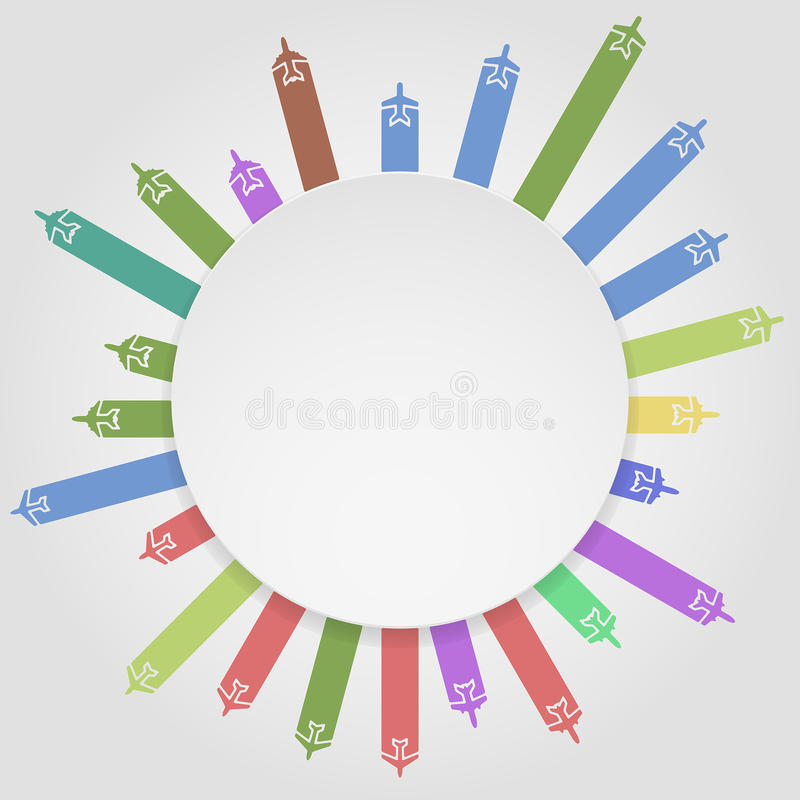 Airplanes circle vector illustration