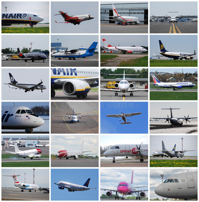 Airplanes collage royalty free stock photo