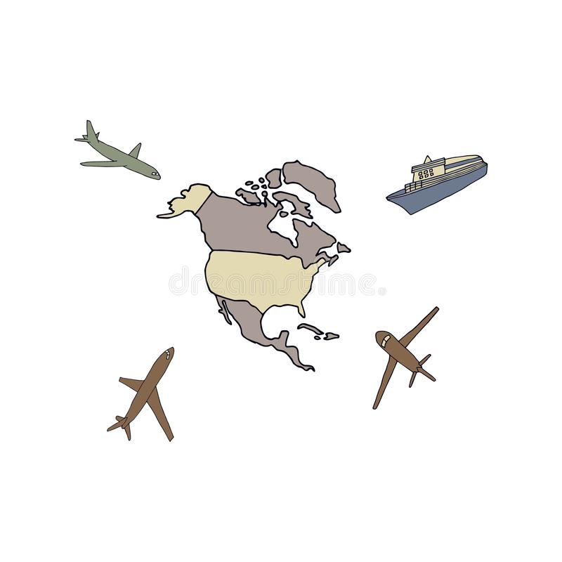 Airplanes fly to North America. Hand drawn vector illustration on  white background vector illustration