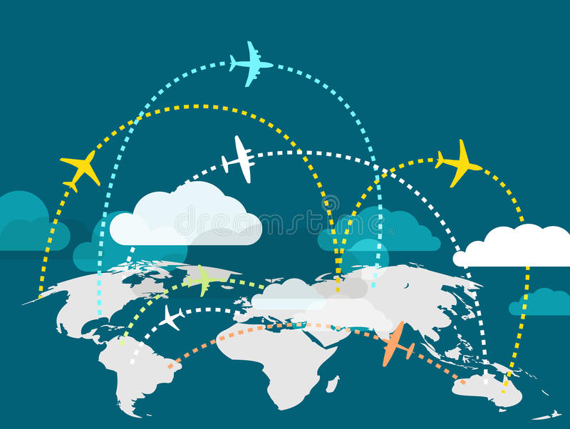 Airplanes flying over the Earth royalty free illustration
