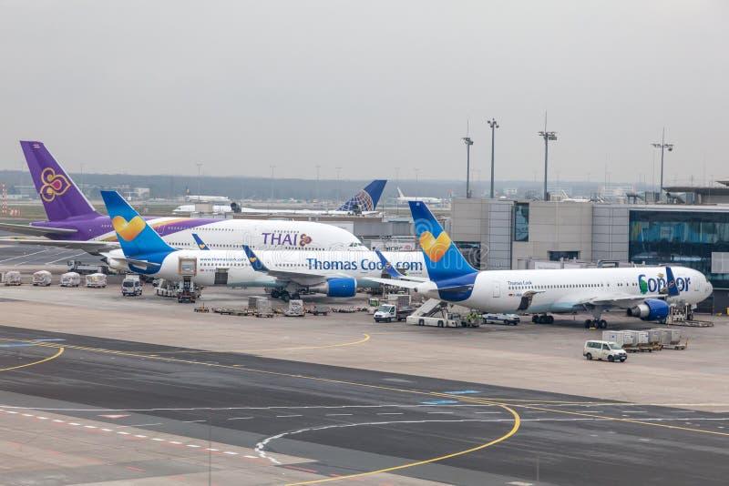 Airplanes at the Frankfurt International Airport stock photo