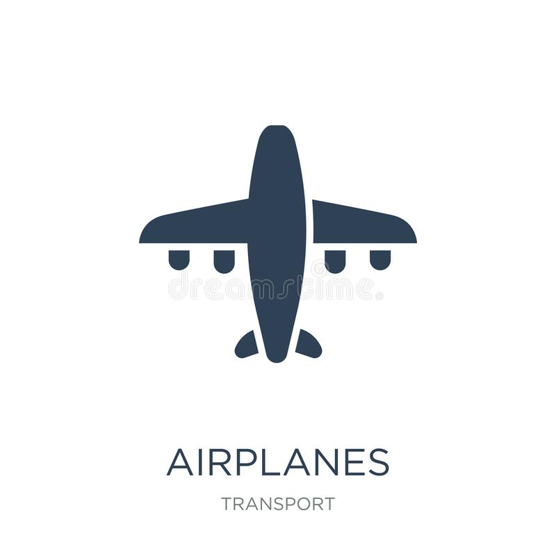 airplanes icon in trendy design style. airplanes icon isolated on white background. airplanes vector icon simple and modern flat stock illustration