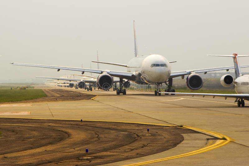Download Airplanes in Line stock photo. Image of transportation - 9558390
