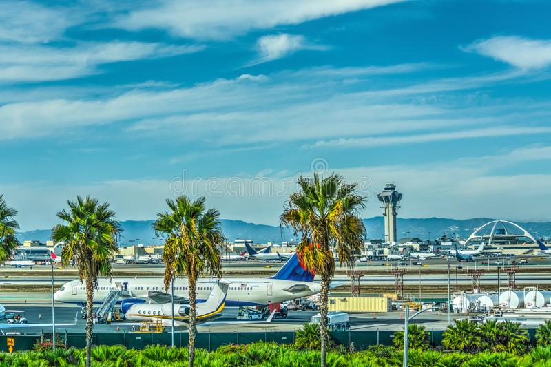 Airplanes in Los Angeles International airport apron royalty free stock photography
