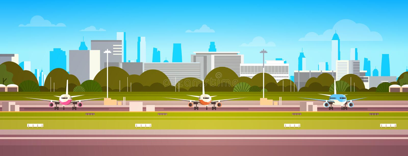 Airplanes Over Airport Building, Modern Terminal With Plane On Runway Waiting For Take Off Modern City Background. Flat Vector Illustration vector illustration