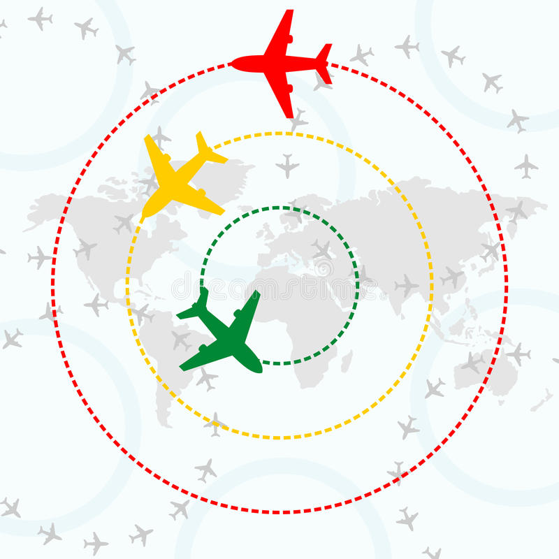 Airplanes over world map vector illustration