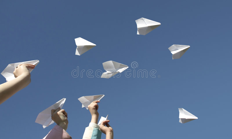 Airplanes from paper stock photography
