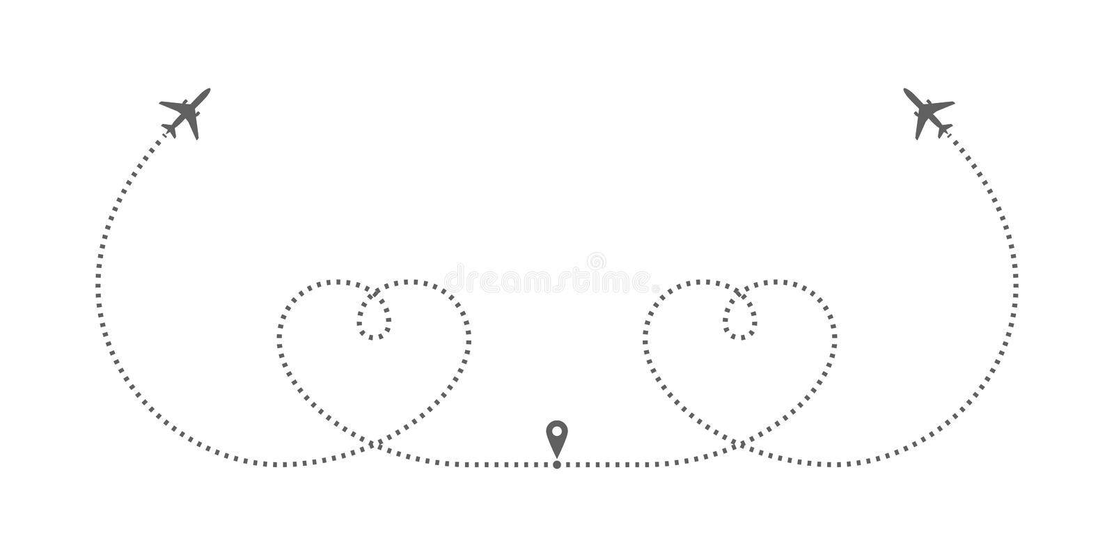 Airplanes drawing hearts stock illustration