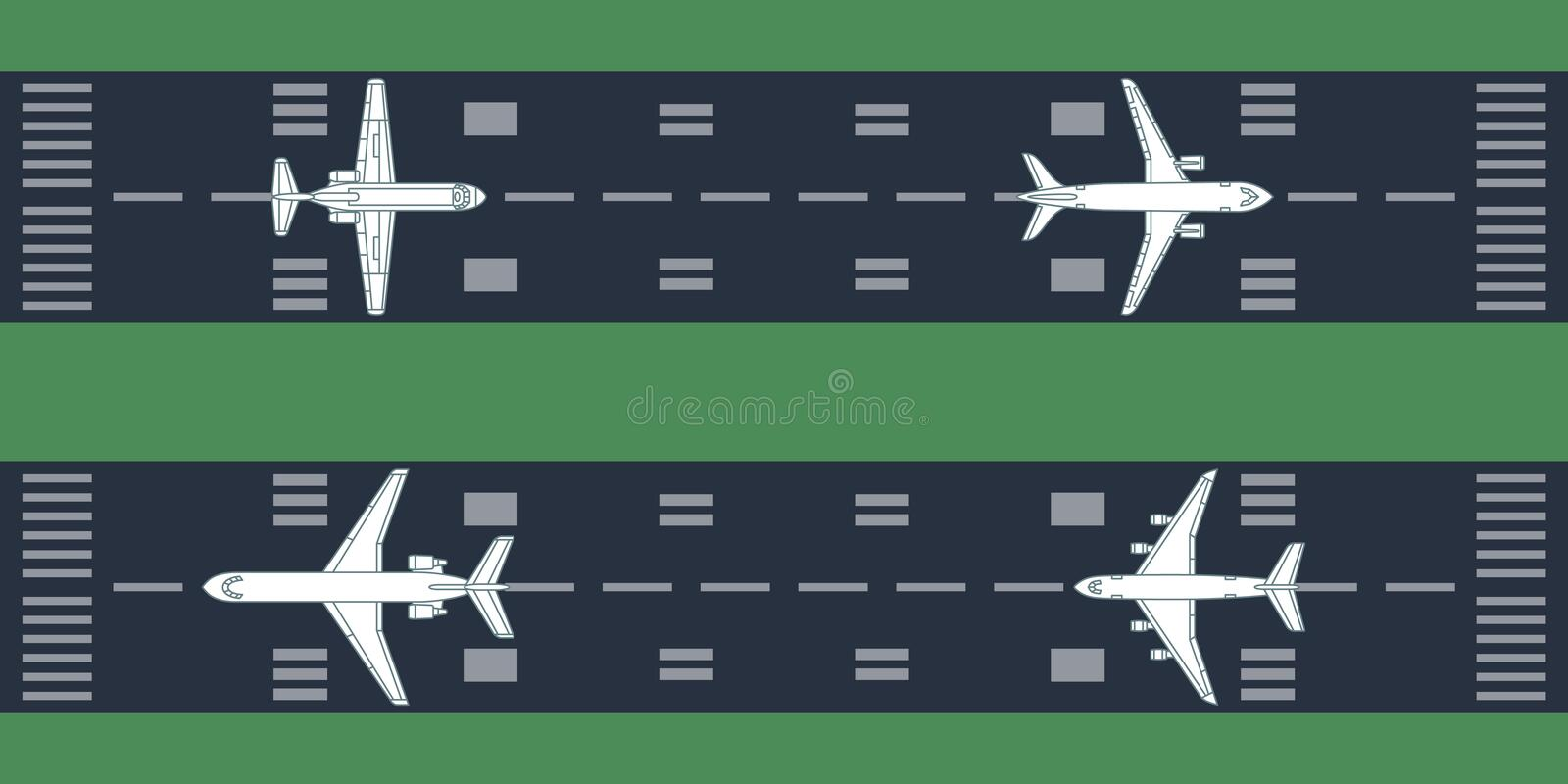 Airplanes at runway. Vector illustration. Each object is grouped individually stock illustration