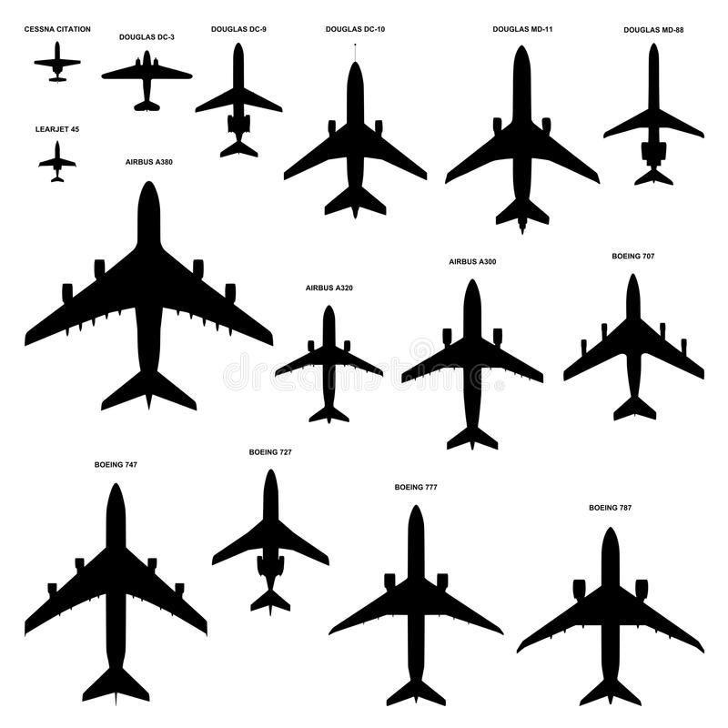Airplanes silhouettes vector illustration