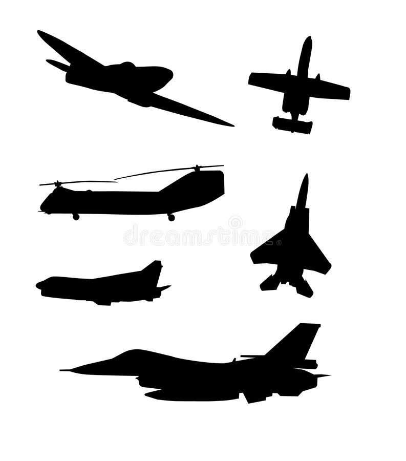Download Airplanes Silhouettes Vector Set. Stock Vector - Illustration: 12117994