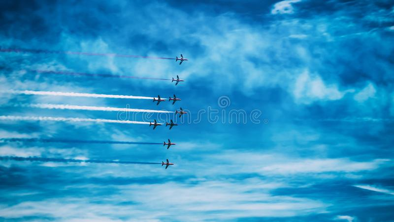 Airplanes in sky, Torbay airshow in Paignton, Devon, June, 2019 stock image
