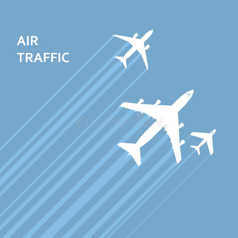 Airplanes takeoff in the sky with trace - aviation vector illustration
