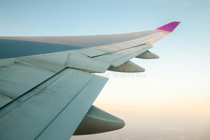 Airplanes wing stock images