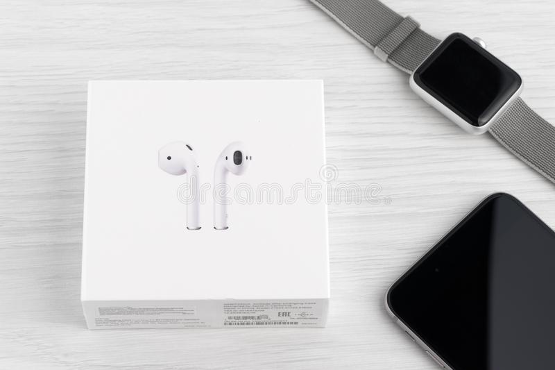 AirPods无线耳机 库存图片