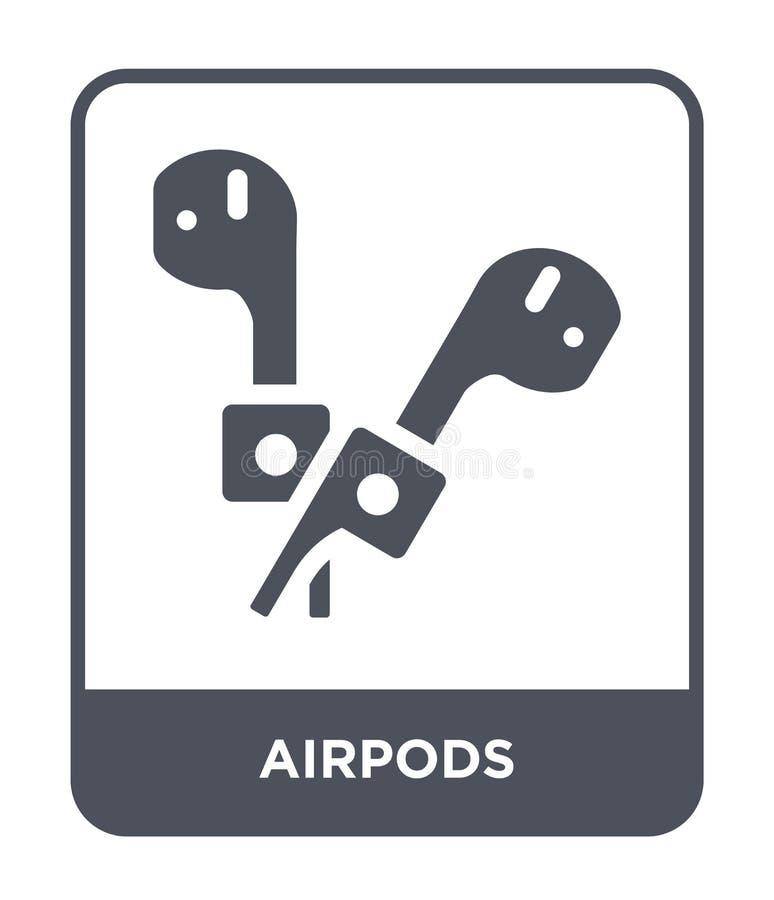 airpods pictogram in in ontwerpstijl airpods pictogram dat op witte achtergrond wordt geïsoleerd airpods vectorpictogram eenvoudi stock illustratie
