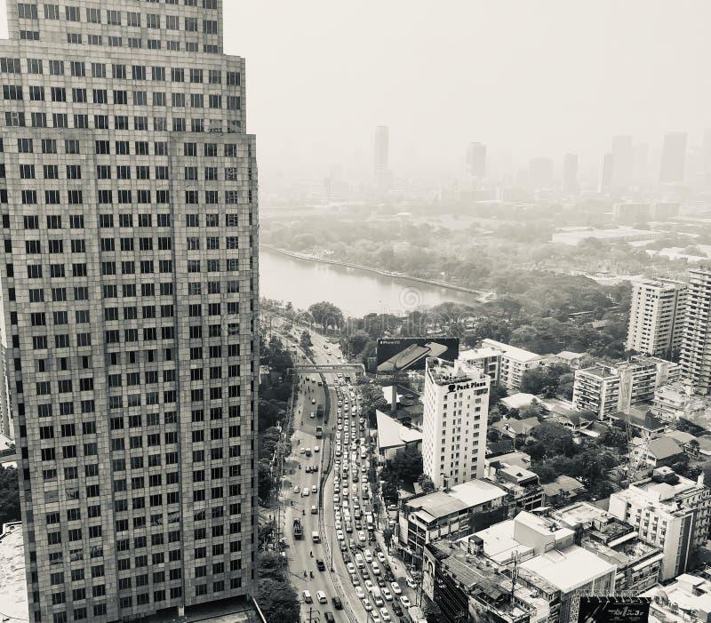 Airpolution van Bangkok stock fotografie