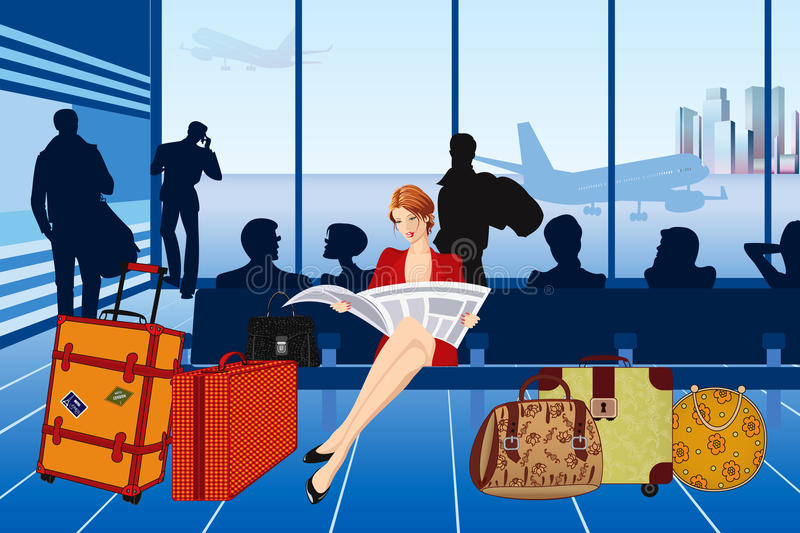 Airport. Beautiful woman reading a newspaper and waiting for her plane at the airport - vector illustration