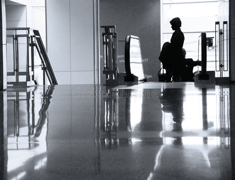 At the airport. Woman at the airport