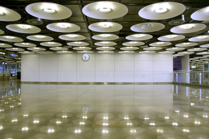 Airport. Interior and lights perspective in Madrid, Spain stock images