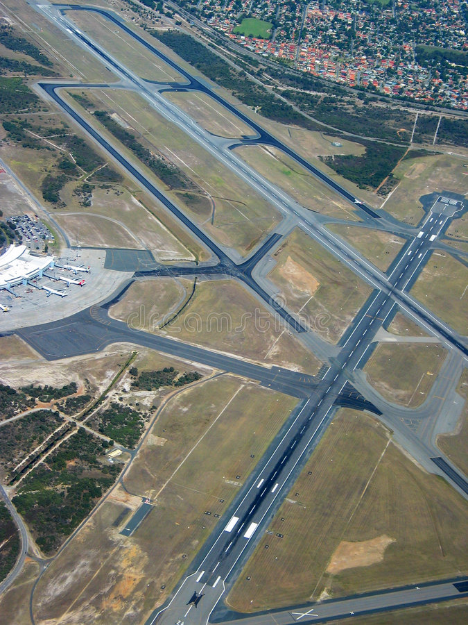 Airport Aerial. Aerial view of runway on major airport royalty free stock photography
