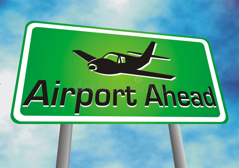 Airport ahead sign board. Illustration with blue background stock illustration