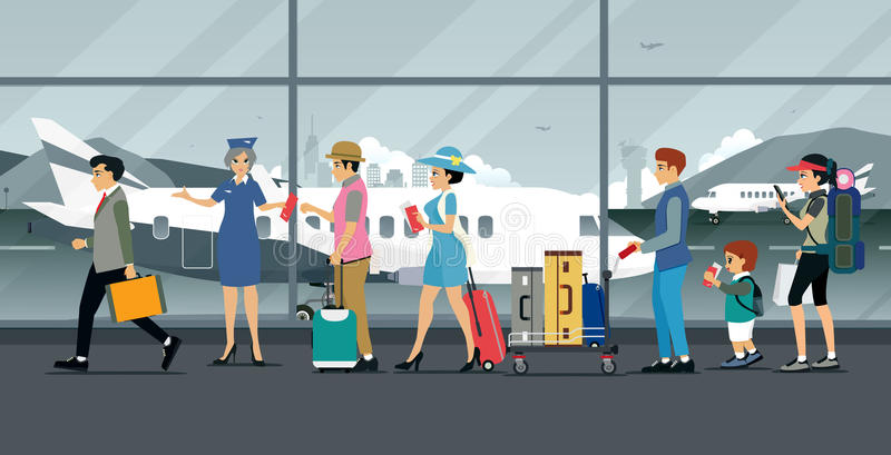 Airport. Air hostess inspecting plane tickets from passengers carrying luggage stock illustration