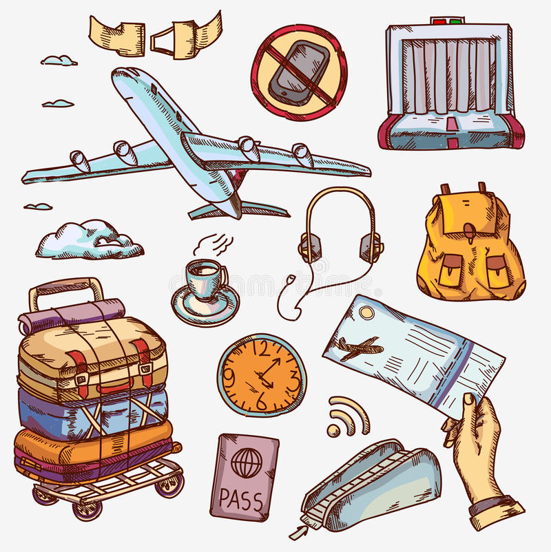 Airport and air travel icons concept traveling on stock illustration