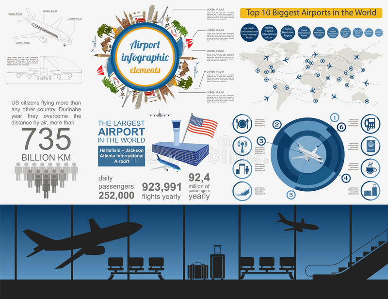 Airport, air travel infographic with design elements. Infographi. C template with statistical data. Vector illustration royalty free illustration