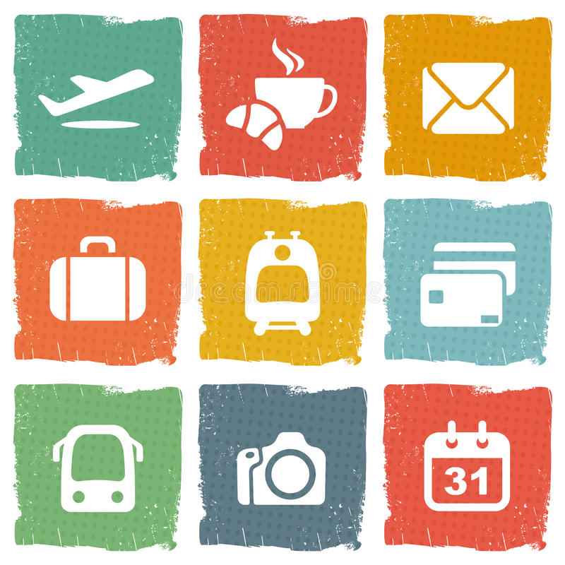 Airport and airlines services icons stock illustration