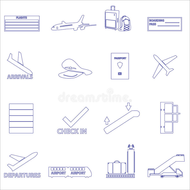 Airport and airplane simple outline icons set eps10 vector illustration