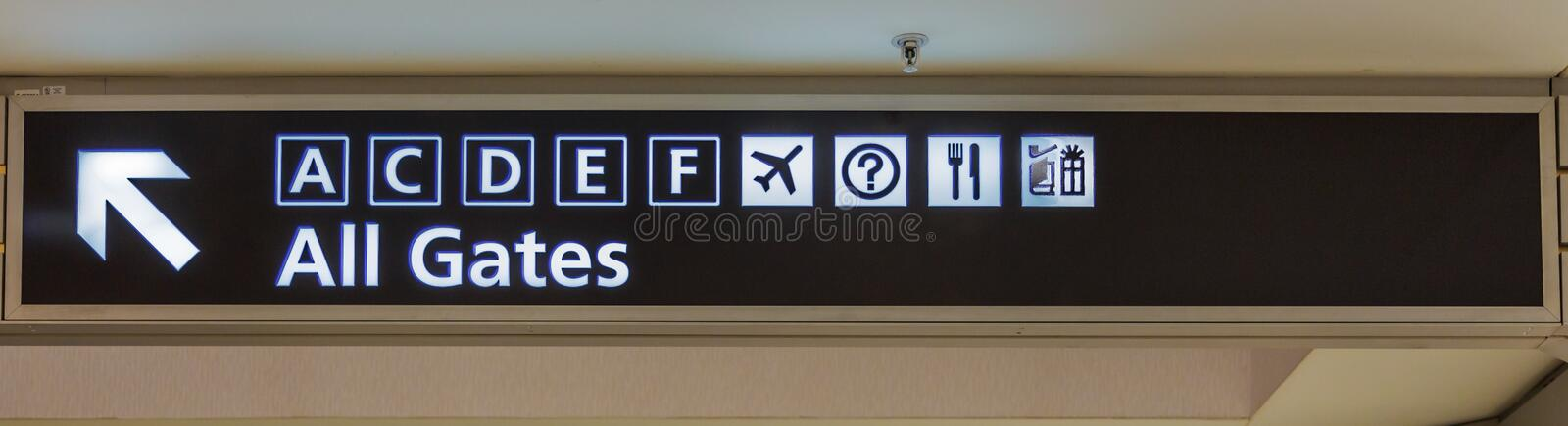 Airport All Gates Sign. Airside sign directing passengers to departure gates location stock images