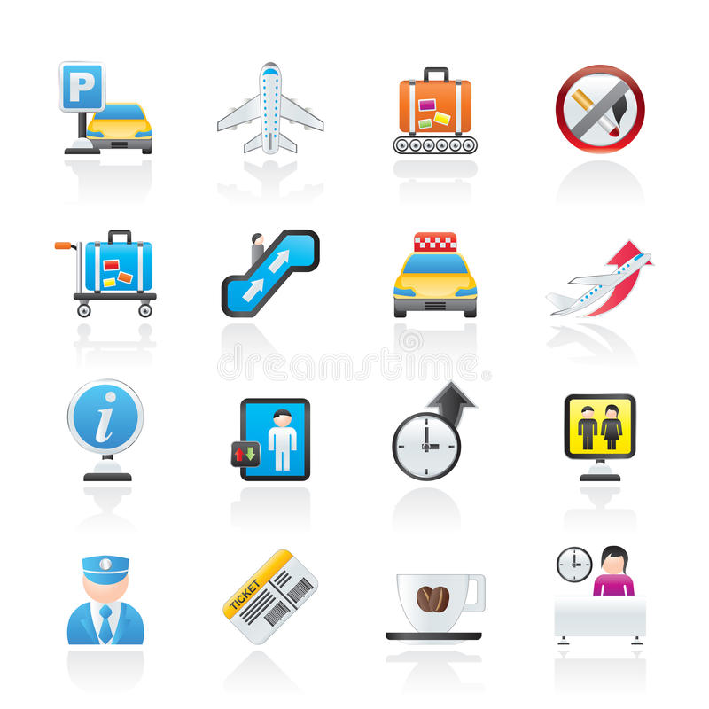 Free Airport And Transportation Icons Royalty Free Stock Photography - 22774147
