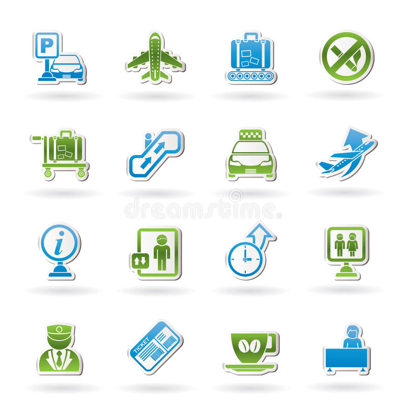 Free Airport And Transportation Icons Royalty Free Stock Photo - 23035525