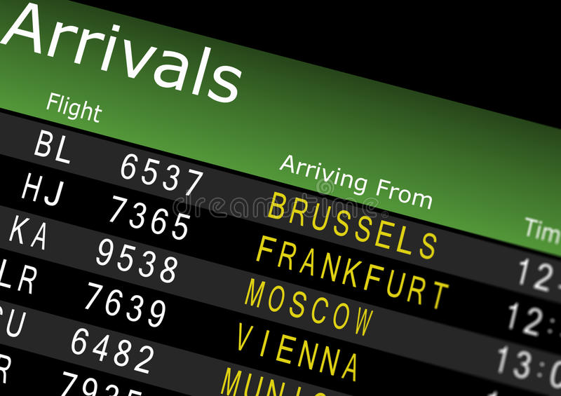 Airport Arrivals Board. Showing flight information royalty free illustration