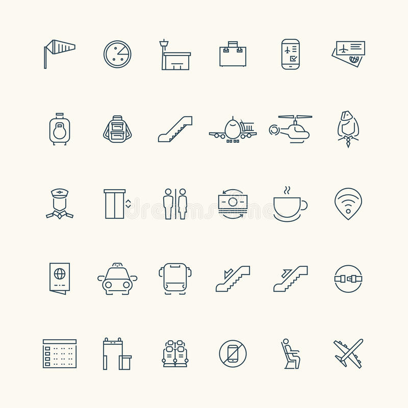 Airport and aviation line icon collection vector illustration