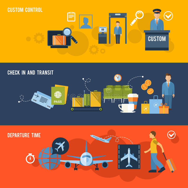 Airport Banner Set vector illustration