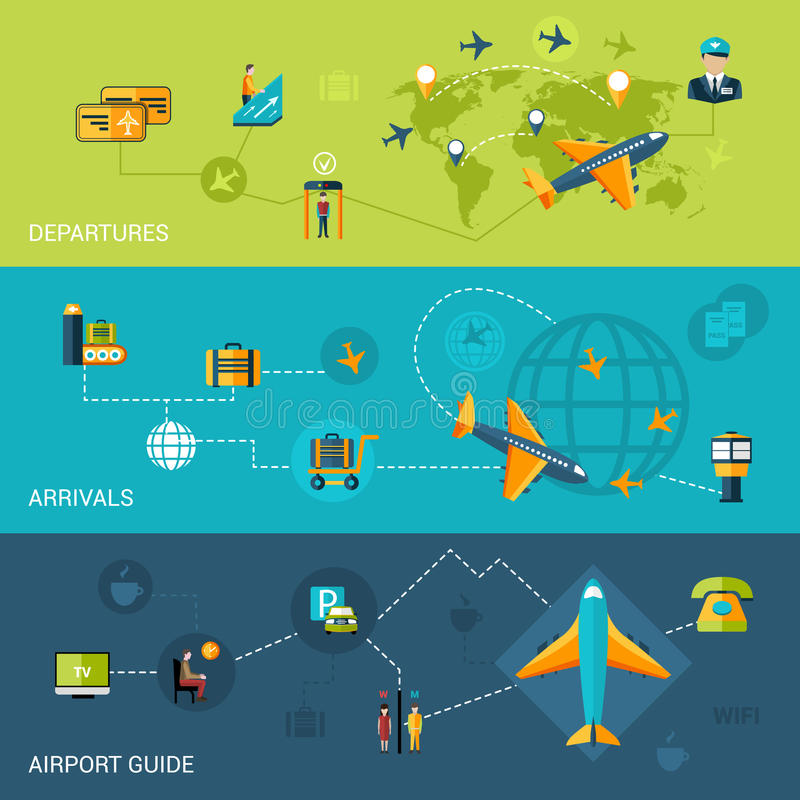 Airport Banners Set vector illustration