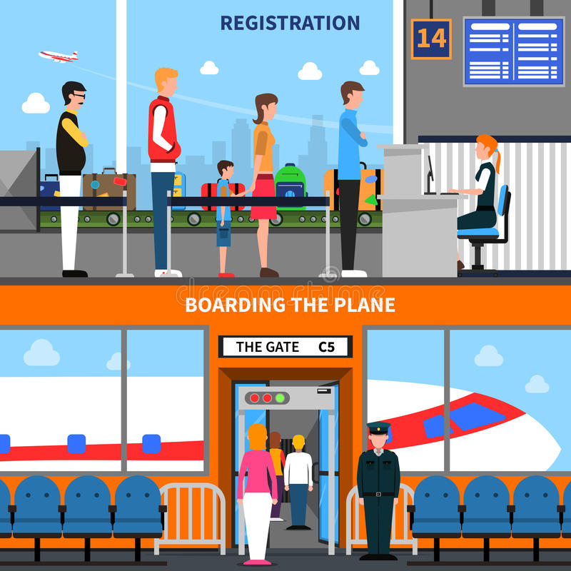 Airport Banners Set. Airport horizontal banners set with registration and boarding symbols flat vector illustration vector illustration