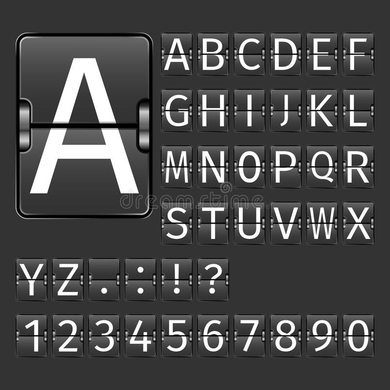 Airport Board Alphabet. Alphabet letters and numbers on black arrival departure airport board vector illustration vector illustration