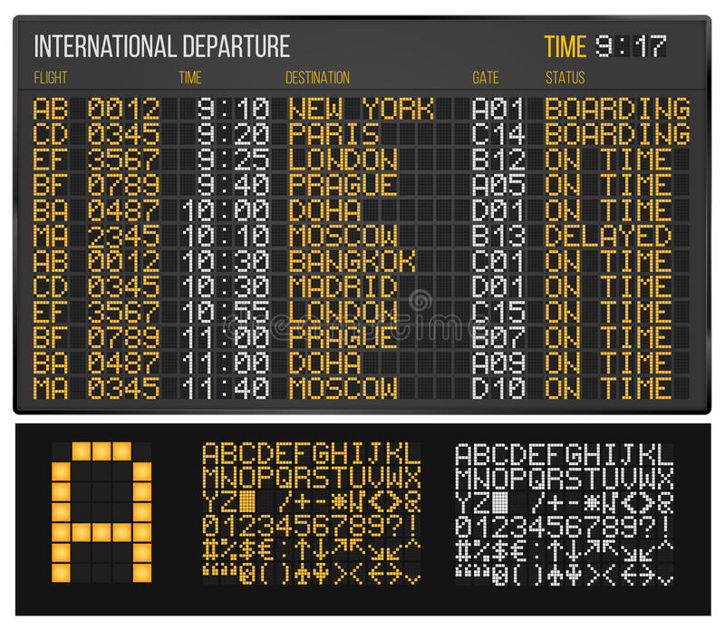 Airport board. Airport Departure or Arrival board. Electronic table and Digital Led Font. Vector illustration vector illustration